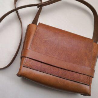 kernelæder håndtaske med strop